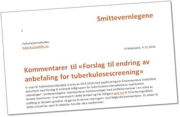 Endret tuberkuloseundersøkelse?